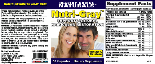 Nutri-Gray Weight Loss Supplement Label