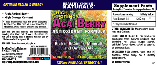 Acai Berry Supplement Label