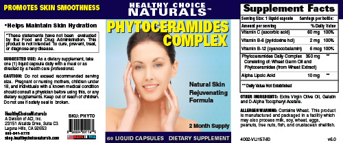 Phytoceramides Complex Supplement Label