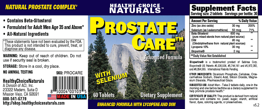 Prostate Care Supplement Label