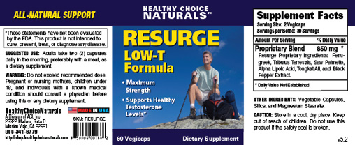 Resurge Low-T Formula Label