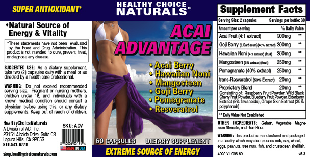 Acai Advantage Supplement Label