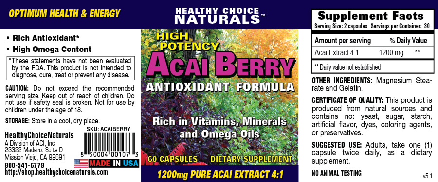 Acai Berry Natural Supplement Label