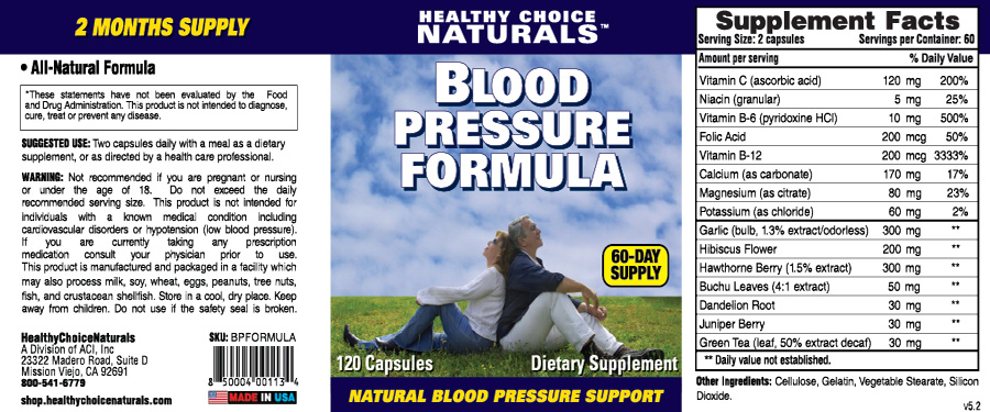 Blood Pressure Formula Supplements