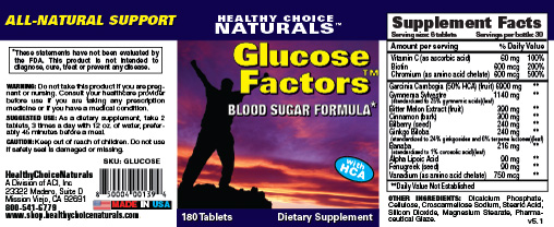 Glucose Factors Blood Sugar Supplement