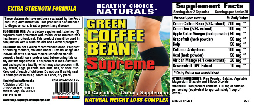 Green Coffee Bean Supreme Supplement Label