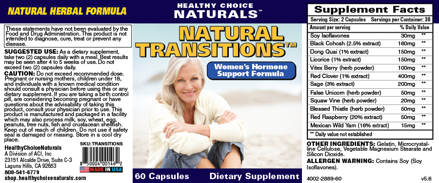 Natural Transitions Hormone Formula Supplement