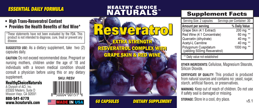 Resveratrol Supplement Label